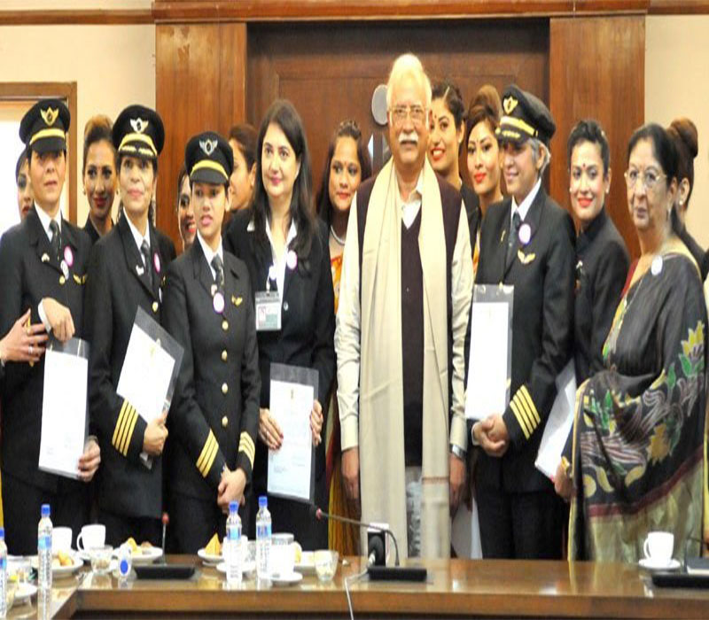 Chairman with all Women Crew of AirIndia